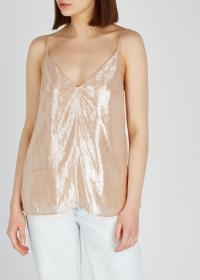 CAMI NYC Olivia lamé prosecco silk-blend cami / shimmering camisole