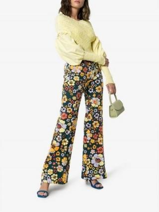 Cap Penelope Poppy Flower Knitted Trousers / retro flares