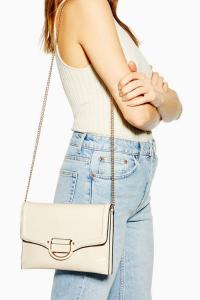 Topshop CARLY Cream Crinkle Clutch Bag | chain strap flap bags