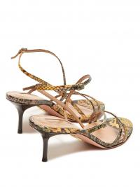 AQUAZZURA Carolyne 60 python-print leather sandals | Matches Fashion