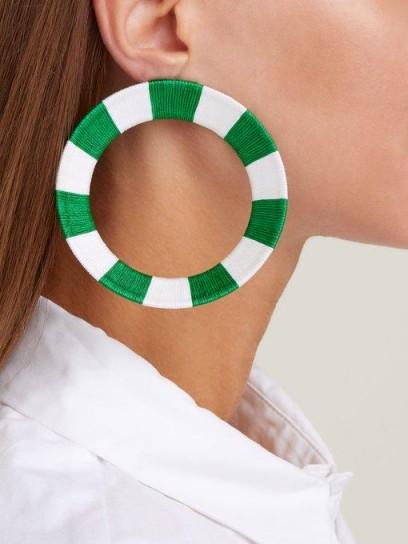 MARYJANE CLAVEROL Celene green and white striped hoop earrings
