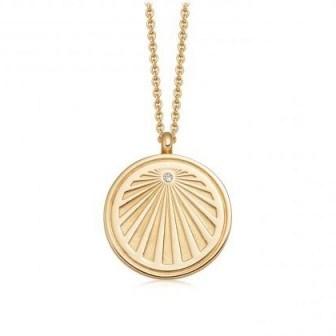 ASTLEY CLARKE Celestial Sunrise Locket Necklace 18 karat gold vermeil / engraved lockets - flipped