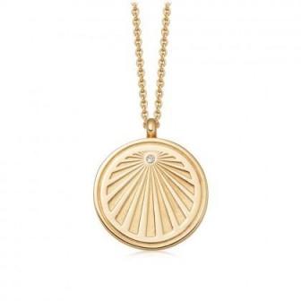 ASTLEY CLARKE Celestial Sunrise Locket Necklace 18 karat gold vermeil / engraved lockets