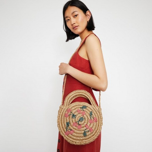 WAREHOUSE CHERRY CIRCLE STRAW BAG in Beige / round summer bags - flipped