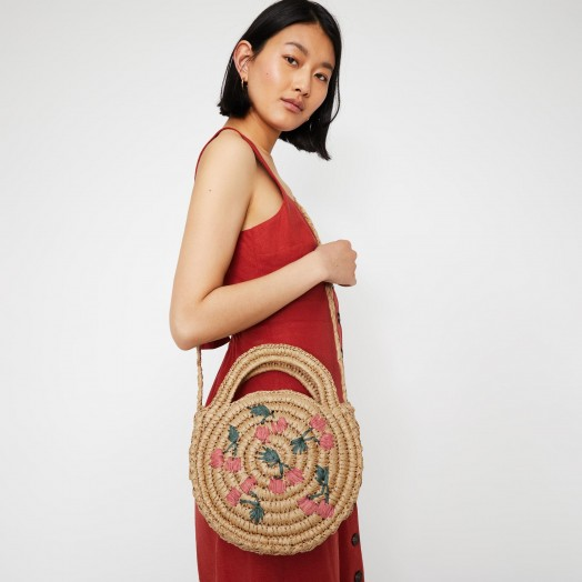 WAREHOUSE CHERRY CIRCLE STRAW BAG in Beige / round summer bags