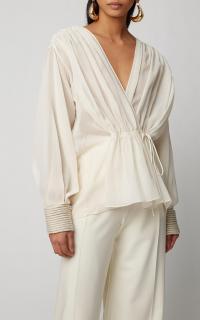 Oscar de la Renta Chiffon Wrap Top in white | feminine front tie blouse
