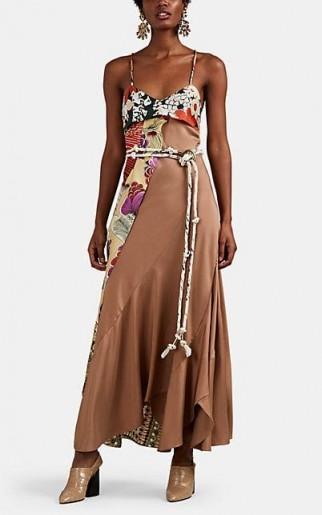 CHLOÉ Floral-Draped Twill Midi-Dress in beige – multi / skinny strap dresses