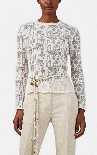 CHLOÉ Logo-Pattern Lace Top in White / designer tops / casual luxe - flipped