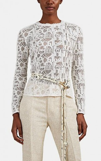 CHLOÉ Logo-Pattern Lace Top in White / designer tops / casual luxe