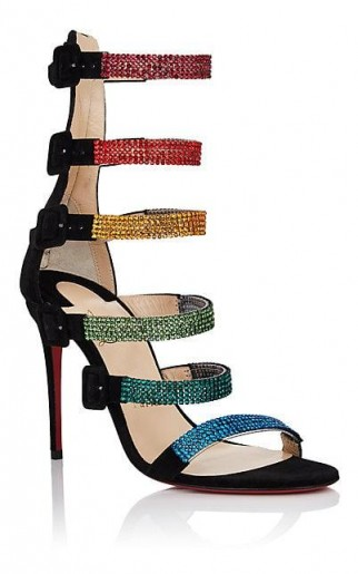 CHRISTIAN LOUBOUTIN Raynibo Suede Sandals / multicoloured crystal straps