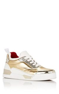 CHRISTIAN LOUBOUTIN Aurélien Donna Flat Sneakers ~ metallic-gold trainers ~ sports luxe shoes