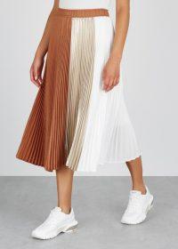 CLU Colour-block pleated satin midi skirt | neutral tones