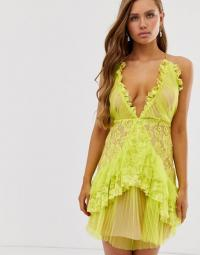 Collective The Label plunge front cami mini dress with ruffle in lime green | ruffled lace deep V-neckline dresses
