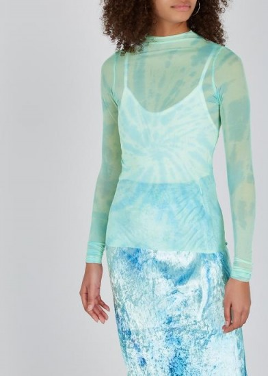 COLLINA STRADA Nova tie-dye tulle top pale turquoise / sheer tops