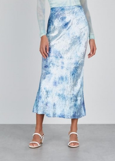 COLLINA STRADA Yod blue tie-dye velvet midi skirt ~ everyday luxe