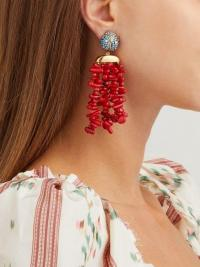 BEGUM KHAN Corsica Ladybug turquoise and coral clip earrings ~ red and blue statement drops