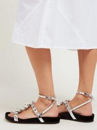 MIU MIU Crystal-embellished black velvet and silver leather sandals ~ strappy metallic flats