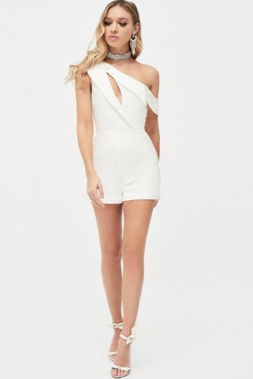 LAVISH ALICE cut out one shoulder lapel playsuit in white – party playsuits