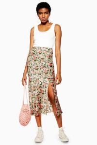 Topshop Daisy Floral Satin Bias Midi Skirt | breezy summer skirts