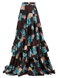 ERDEM Darcy Bloomsbury floral-print silk skirt ~ floor sweeping ruffle trimmed skirts