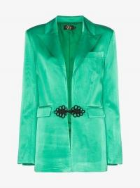 De La Vali Dean Chinese Frog Closure Satin Blazer in green