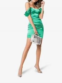 De La Vali Guadalupe Off-Shoulder Ruched Satin Mini Dress in green | luxe party frock | evening glamour