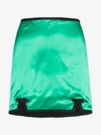 De La Vali Sofia Trimmed Satin Mini Skirt in green