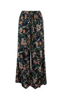 OASIS DELIA SPLIT FRONT TROUSER MULTI BLUE / floaty summer pants
