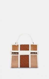 DELVAUX Tempête MM Tzigane Leather Satchel in White and Tan | chic retro bags