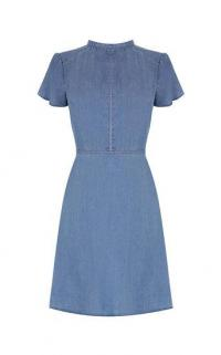 OASIS DENIM SKATER DRESS / blue fit and flare