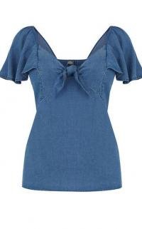 OASIS DENIM TIE FRONT TOP / blue flutter sleeve tops