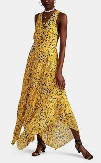 DEREK LAM 10 CROSBY Abstract-Dot-Print Pleated Dress in yellow georgette ~ summer event clothing ~ floaty handkerchief hemline