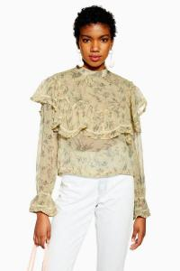 TOPSHOP Ditsy Floral Yoke Frilly Top in Lemon / romantic style fashion