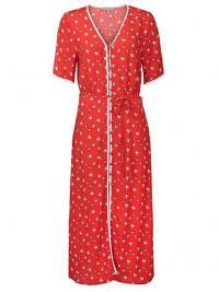 OLIVER BONAS Ditsy Print Red Midi Dress