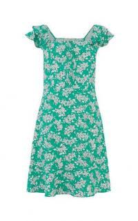 OASIS DITSY PRINT SKATER DRESS in green multi / angel sleeve summer dresses / flutter sleeves