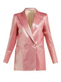 BLAZÉ MILANO Diva double-breasted metallic-stripe blazer in pink / shimmering silk blend jackets