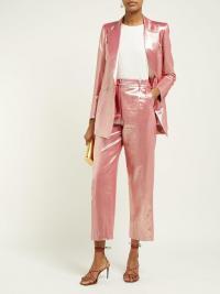 BLAZÉ MILANO Diva metallic high-rise silk-blend trousers / shiny pink pants