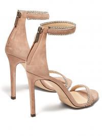 JIMMY CHOO Dochas 100 crystal strap suede sandals / shimmering crystals