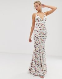 Dolly & Delicious contrast floral embroidered fishtail maxi dress in multi | plunge front | lace-up back thin strap dresses