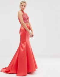 Dolly & Delicious fishtail maxi skirt in coral pink | long bright occasion skirts