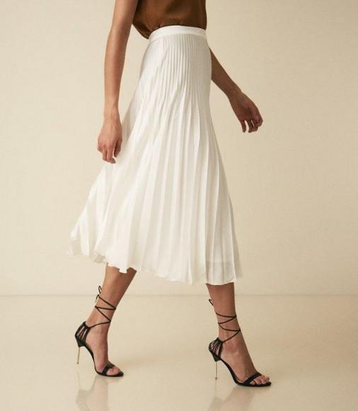 REISS DORA PLEATED MIDI SKIRT WHITE ~ effortless style clothing