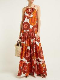 DODO BAR OR Dorothy floral-print tiered cotton maxi dress in orange | vintage summer prints
