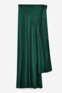 Topshop Boutique Double Layer Silk Skirt in green | silky asymmetric skirts