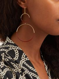 ISABEL MARANT Double-hoop drop earrings in red