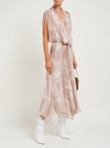 PETAR PETROV Dove snake-print silk midi dress in pink / floaty reptile prints