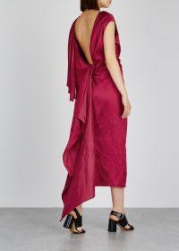 DRIES VAN NOTEN Diala red satin dress ~ draped open back dresses