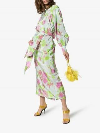 Dries Van Noten Floral Print Asymmetric Dress in green and pink / feminine florals