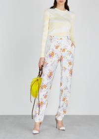 DRIES VAN NOTEN Floral-print crepe trousers / orange and purple florals