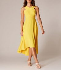 KAREN MILLEN Drop-Hem Midi Dress Yellow ~ high-low hemline ~ fluid movement dresses