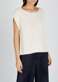 EILEEN FISHER Cream open-knit cotton-blend jumper | dolman sleeve jumpers